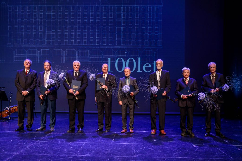 Dean prof. Matjaž Mikoš with recipients of golden awards (from left to right: prof. Matjaž Mikoš, doc. Gerhard Navratil, prof. Uwe Stilla, prof. Erik Stubkjær, prof. Miran Saje, prof. Rudi Rajar, prof. Andrej Pogačnik, acad. prof. Peter Fajfar).