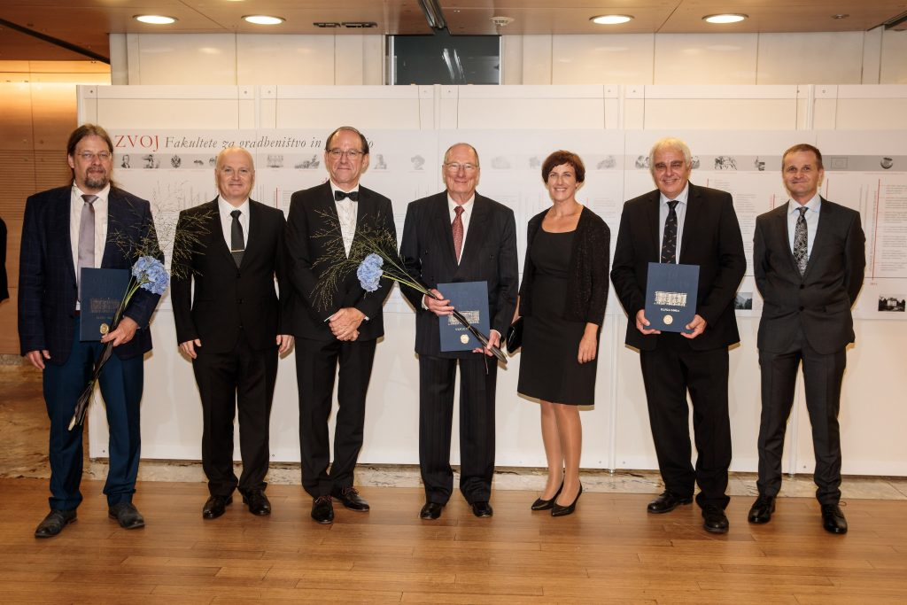 Representatives of the Chair with the recipients of Golden Plaques (doc. Gerhard Navratil, doc. Marjan Čeh, doc. Samo Drobne, prof. Erik Stubkjær, assoc. prof. Anka Lisec, prof. Uwe Stilla, prof. Krištof Oštir).